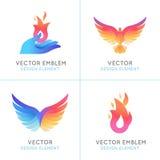 Uccelli di Phoenix ed icone del fuoco illustrazione vettoriale