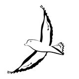 Uccelli di volo della siluetta Fotografia Stock