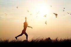 Uccelli di volo e della donna che godono della vita in natura sul tramonto Fotografia Stock