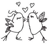 Uccelli disegnati a mano della molla di scarabocchio nell'amore Immagine Stock Libera da Diritti