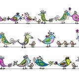 Uccelli divertenti, reticolo senza cuciture per il vostro disegno Fotografia Stock