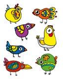 Uccelli divertenti stabiliti di vettore Immagine Stock