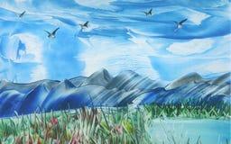 Uccelli durante il volo sopra l'intervallo di montagna illustrazione vettoriale