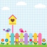 Uccelli e birdhouse Immagine Stock