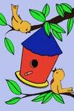 Uccelli e Birdhouse in un albero Immagini Stock