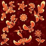 Uccelli e fiori isolati su rosso Immagini Stock Libere da Diritti