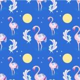 Uccelli e foglie del fenicottero di rosa di scarabocchio del modello dietro il blu royalty illustrazione gratis