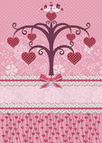 Uccelli ed albero degli innamorati. Scheda di festa. Immagine Stock