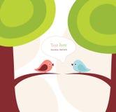 Uccelli ed albero di vettore Immagini Stock