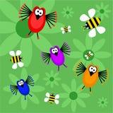 Uccelli ed api Fotografia Stock