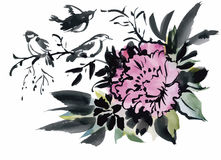 Uccelli esotici selvaggi dell'acquerello sui fiori Fotografie Stock Libere da Diritti