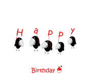 Uccelli felici dei biglietti di auguri per il compleanno divertenti Fotografie Stock