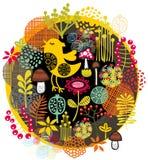 Uccelli, fiori e l'altra natura. Immagini Stock Libere da Diritti
