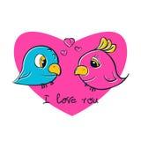 Uccelli graziosi per la stampa della maglietta Amore degli uccelli Fotografia Stock