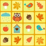 Uccelli, gufo e fogli d'autunno Immagini Stock Libere da Diritti