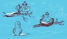 Uccelli in inverno Fotografia Stock