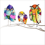 Uccelli luminosi decorativi Fotografia Stock