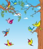 Uccelli negli alberi Immagini Stock Libere da Diritti