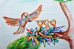 Uccelli nel nido Fotografia Stock