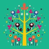 Uccelli nell'illustrazione della natura dell'albero Fotografie Stock Libere da Diritti