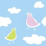 Uccelli sul cielo illustrazione di stock