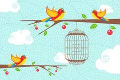 Uccelli svegli che si siedono sull'albero Fotografie Stock