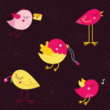 Uccelli svegli di vettore di scarabocchio del fumetto Fotografia Stock Libera da Diritti