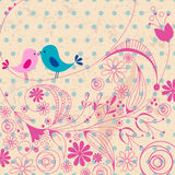Uccelli svegli nell'illustrazione di amore Fotografie Stock