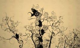 Uccelli in un albero Fotografia Stock