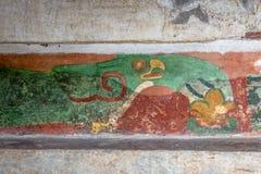Uccelli verdi murali nel tempio delle lumache messe le piume a alle rovine di Teotihuacan - Città del Messico, Messico Fotografia Stock