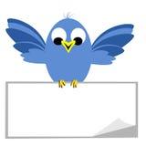 Uccellino azzurro che si siede sull'insegna in bianco royalty illustrazione gratis