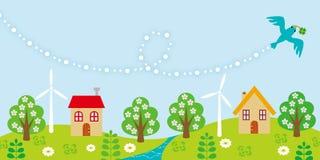 Uccellino azzurro che sorvola piccolo Village-EPS10 royalty illustrazione gratis