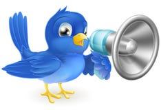 Uccellino azzurro con il megafono illustrazione di stock