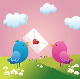 Uccellino due nell'amore royalty illustrazione gratis