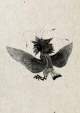 Uccello animale mitologico Gamayun femminile su carta di riso, siluetta nera Disegno pagano piega stilizzato Fotografia Stock