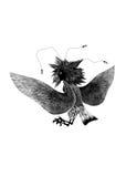 Uccello animale mitologico Gamayun femminile su fondo bianco, siluetta nera Disegno pagano piega stilizzato Immagini Stock Libere da Diritti