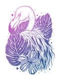 Uccello animale tropicale del tatuaggio del fenicottero Disegno della natura di estate Il colore di pendenza ha isolato il fondo  royalty illustrazione gratis