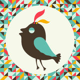 Uccello arrogante con fondo d'annata Fotografia Stock Libera da Diritti