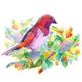 Uccello, bacche, fiori e foglie illustrazione di stock