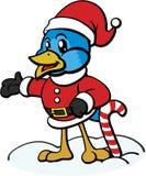 Uccello blu in attrezzatura di natale illustrazione di stock
