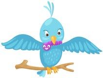 Uccello blu che mangia vite senza fine sulla filiale illustrazione vettoriale