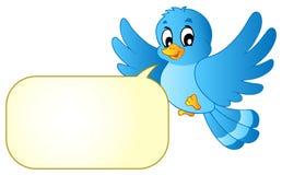 Uccello blu con la bolla dei fumetti Immagini Stock
