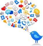 Uccello blu con le icone sociali di media Immagine Stock