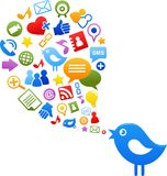 Uccello blu con le icone sociali di media Fotografia Stock Libera da Diritti