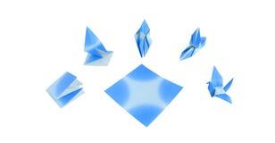 Uccello blu Origami Fotografia Stock Libera da Diritti