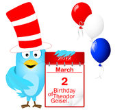 Uccello blu in un cappello a strisce con l'icona un calendario. Fotografie Stock