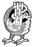 Uccello celtico autentico in bianco e nero illustrazione vettoriale