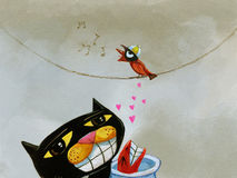 Uccello che canta arte capricciosa Fotografia Stock