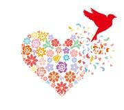 Uccello che decolla dalla forma del cuore illustrazione di stock