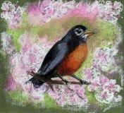 Uccello che si siede sul ramo di fioritura illustrazione di stock